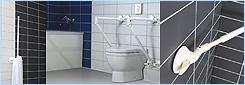 Madla do koupelny, madla k WC a madla do sprchy s bezpečnostním ukazatelem